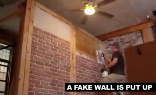 fake walls set up